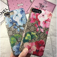GUCCI New fashion more letter floral print mobile phone shell couple hard shell phone case two color