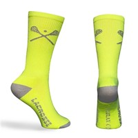 Lacrosse Sticks Crew Socks Neon (One Size Fits Most)