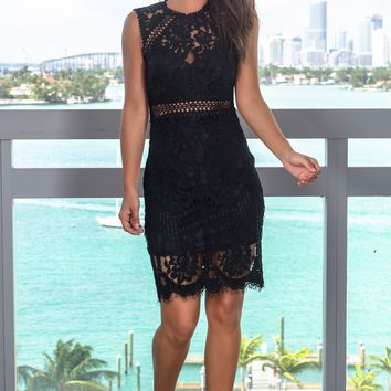 Black Lace Embroidered Short Dress