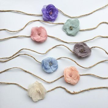 Tieback Headband chiffon Flower Girl Headband Newborn