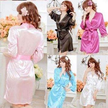PEAPIX3 001,Details about Hot Sexy Women Satin Lace Robe Sleepwear Lingerie Nightdress G-string Pajamas = 1931537860