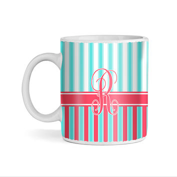 Turquoise and Coral Wallpaper Stripes Monogram 11oz Coffee Mug