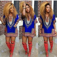 2016 5Color Summer Dress Sexy Mini African Tranditional Print Dashiki Dress Ladies Dresses Folk Art African Women Dress Clothing
