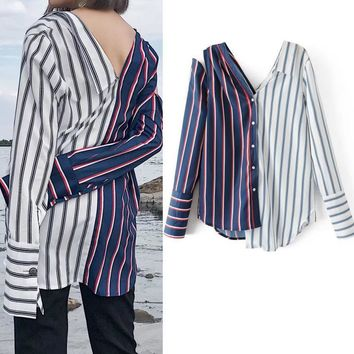 Winter Stripes Women's Fashion Long Sleeve Tops Sexy Backless V-neck Shirt [11850013135]