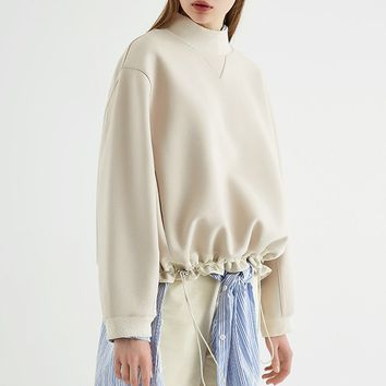 Drawstring Pullover Top | White