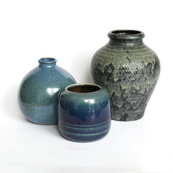 Blue Vintage Vases - Set of 3 1970s