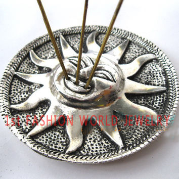 Tibetan Incense Burner Holder - The SUN- 3 Slot for Incense Sticks -9.5cm Diameter