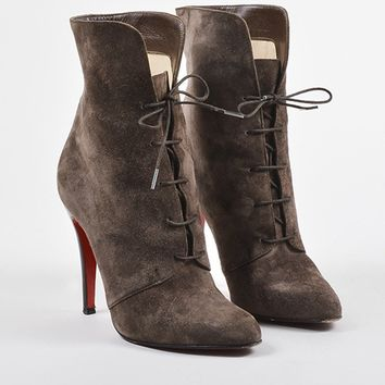 DCCK2 Christian Louboutin Brown Suede Lace Up Mid Calf Stiletto Boots