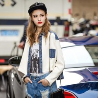 Women's Fashion Knit Patchwork Ladies Denim Jacket [8082661639]