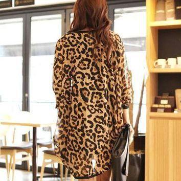 2016 Women Blouses Leopard Print Cape Sexy Kimono Shirt Tunic Chiffon Cardigan Lady Fashion Shawl Tops Free Shipping #YL10