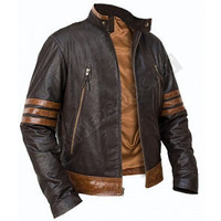 Handmade stylish wolverine brown leather jacket, x men movie leather jacket