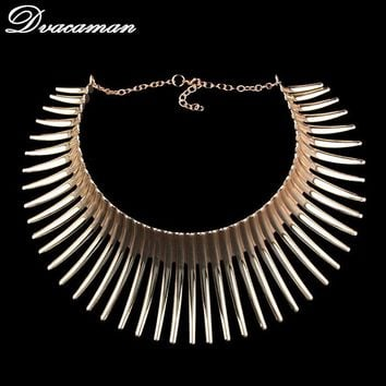 Dvacaman Fashion Bending Alloy Big Torques Indian Statement Necklaces 2017 Steampunk Jewelry Collar Choker Necklace For Women