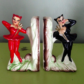 SALE! RARE Vintage Halloween Devil Pin Up Ladies Book Ends 1940s Enesco Japan Collectible Halloween Decor Display
