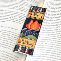 Hand Painted Bookmark // Fahrenheit 451 Classic Hardcover // Book Spine Bookmark // Ray Bradbury // Gift for Readers // Book Club