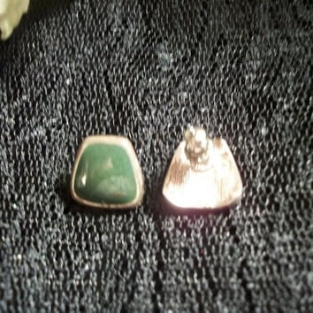 Green and Silver Earrings Geometric Trapezoid Shiny Bright Picture Frames Green Cabachon Metal Posts Bullet Barrel Backs Christmas Jewelry