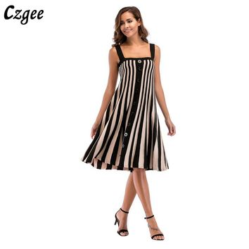 Gzgee Summer Beach Women Wedding Long Bohemian Casual Sleeveless Dresses Printed Fashion striated Dress Sundress G5703