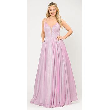 Pink/Lilac Criss-Cross Back Long Prom Dress with Pockets