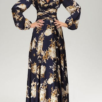 V-Neck Long Sleeve Floral Print Maxi Dress