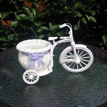 1PC PVC White Tricycle Bike Design Flower Basket Container For Flower Plant Home Weddding Decoration DIY Without Flower J1173