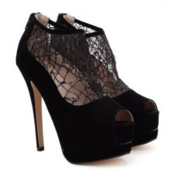 Sexy Women's Peep Toed Shoes With Hollow Out and Stiletto Design