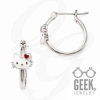 Hello Kitty Sterling Silver Enameled Hoop Earrings