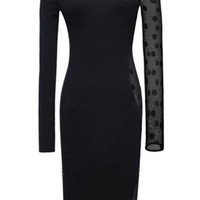 Sexy Black Dot Lace-Paneled Asymmetric Dress - OASAP.com