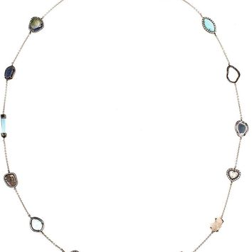 Kimberly Mcdonald geode and diamond 18kt white gold 'Gracie' chain necklace