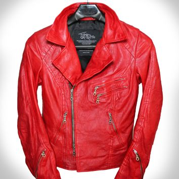 """Red Rebel"" Hand Scar Stitched Heavy Washed Lambskin Double Rider Leather Jacket"