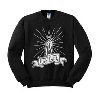 It's Lit Black Flame Candle Crewneck Sweatshirt