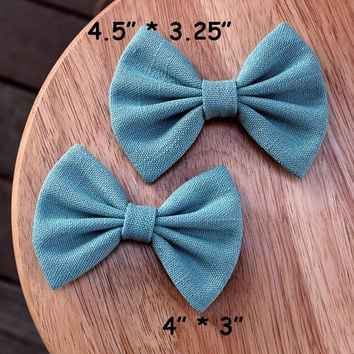 """4"""" or 4.5"""" Pale turquoise hair bow, pale turquoise hairbow, solid color hair bow, medium hair bow, light green hairbow, women bows barrette"""