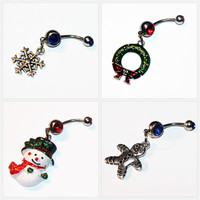 Set Of 4,  Belly Button Rings, Christmas Jewelry, Snowflake, Wreath, Snowman, Gingerbread Man, Belly Piercing - XMAS JULY SALE
