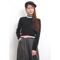 Stripe Trims Cropped Knit Top