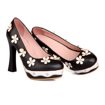 Thick High Heel Platform Flower Splicing Low-cut Round Thin Shoes  black