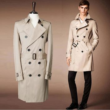 2017 London fashion designer brand classic European windbreaker M - XXL beige/blue double-breasted men and women pea coat 759