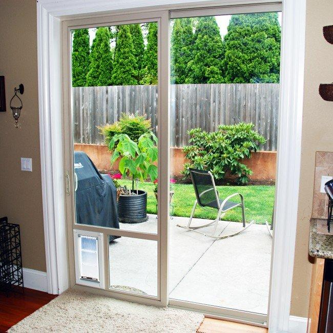 Patio pet door company in the glass from for Patio door companies