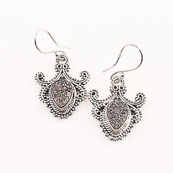 Silver Titanium Drusy Sterling Silver Earrings