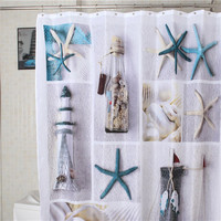 Sea Shell starfish Waterproof Fabric Shower Curtain With 12 Hooks world map Pebbles bathroom bathing blocking curtains