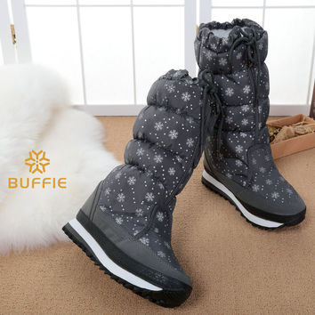 New cherry blossoms  warm fur antiskid hot style women's boots 2016 winter female high boots plus size 35 to 41 big opening leg