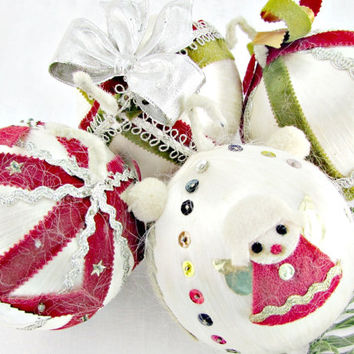 Vintage Christmas Ornament Set, Green Red White Ornaments, Ribbon Satin Ball Ornament, Christmas Tree Ball Ornament, 1960s Home Decor