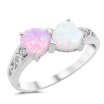 .925 Created White and Pink Opal Cz Heart Ring