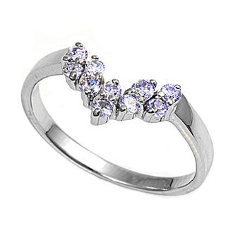 925 Sterling Silver CZ Tiara Lavender Ring 12MM