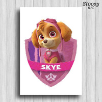 paw patrol Skye poster cartoon dog wall art
