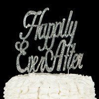 Happily Ever After Cake Topper - Silver