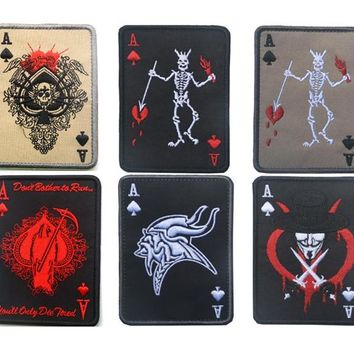 Ace of Spades Death Card Patches MC embroidery  hook and loop grim reapter patches biker motorcycle military tactical  for  vest