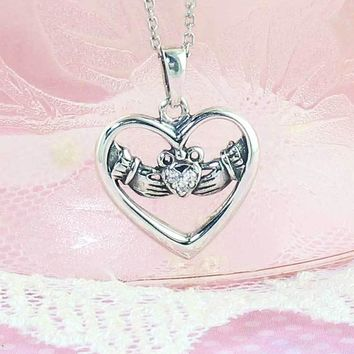 Heart-Shaped Claddagh Necklace with Crystals