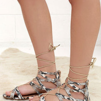 River Valley Snakeskin Lace-Up Flat Sandals