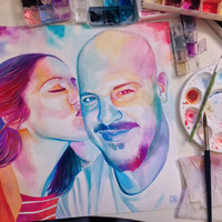 HUSBAND and WIFE special GIFT for wedding anniversary - Custom watercolor portrait - From selfie photo - Proposal gift - engagement gift
