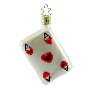 Inge Glas ACE Blown Glass Ornament Cards Hearts Gamble 104806