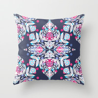 Pastel Folk Art Pattern in soft navy, pink, mauve & white Throw Pillow by micklyn