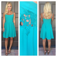 Summer Leaflet Side Crochet Dress - TEAL